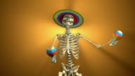 Dancing Skeleton with Maracas for Halloween (Loopable and Alpha-Matte) video