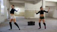 Dancing to music from radio video
