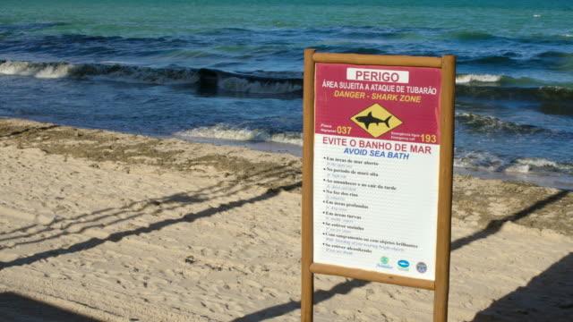 Danger Brazilian Shark Attack Sign Clear Sky Beach Brazil video