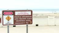 Danger Sign on the beach video