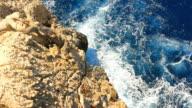 Dangerous rocky cliff view ocean waves tide breaking mountain Majorca video