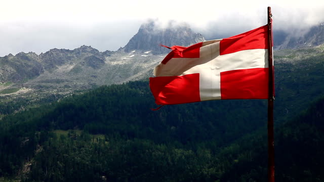Danish flag and mountain peak video