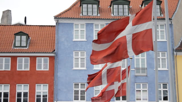 3 Danish flags flapping in the wind video