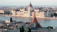 Danube river crossing Budapest city video