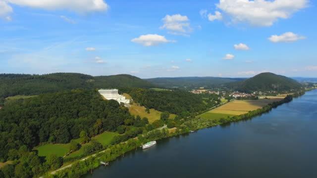 T/L Danube Valley And Walhalla Temple Near Regensburg Flyover video