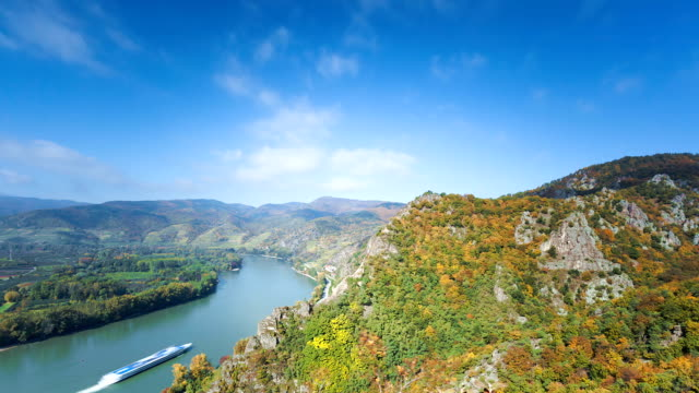 Danube Valley  with Nautical Vessel; TIME  LAPSE video