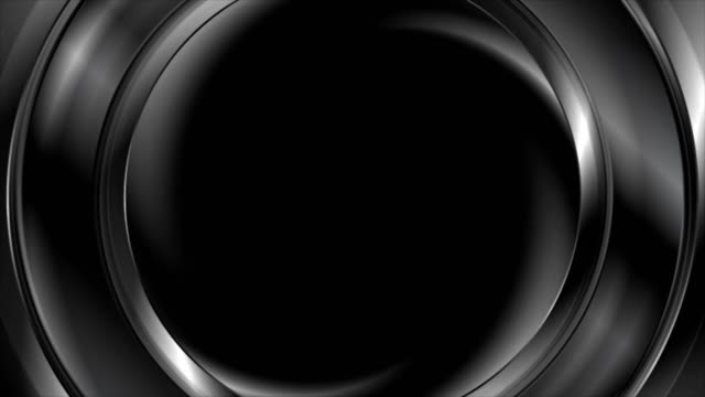 Dark black abstract flowing ring circle video animation video