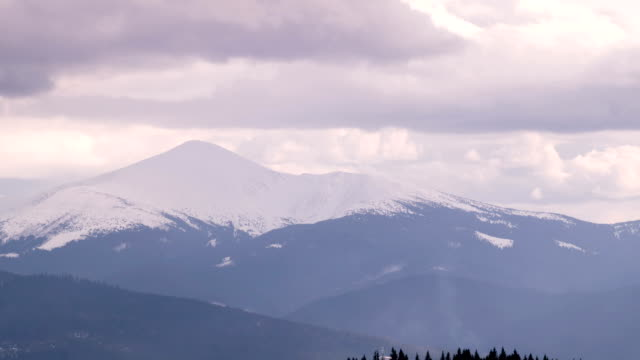 Dark Clouds Moving Fast Over the Slope of Mount Hoverla video