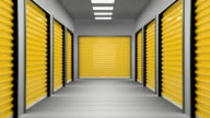 Dark corridor full of storage units with yellow door. video