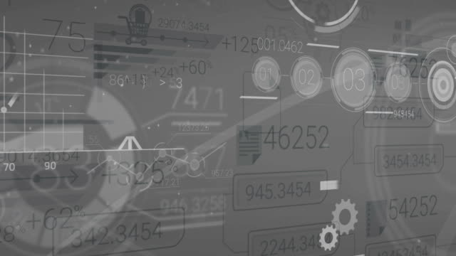Dark Gray Corporate Background With Abstract Elements Of Infographics video