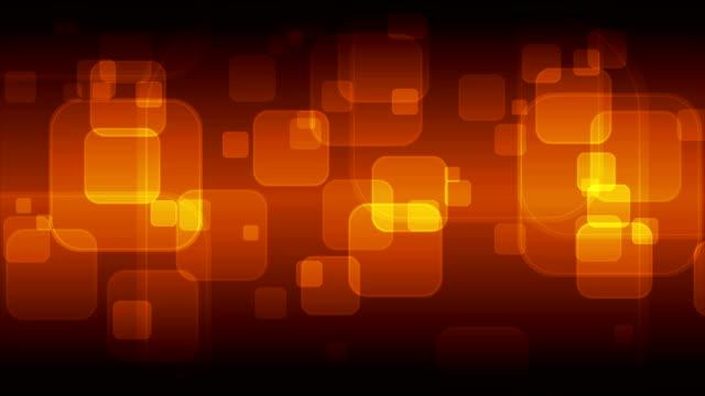 Dark orange geometric squares glowing video animation video
