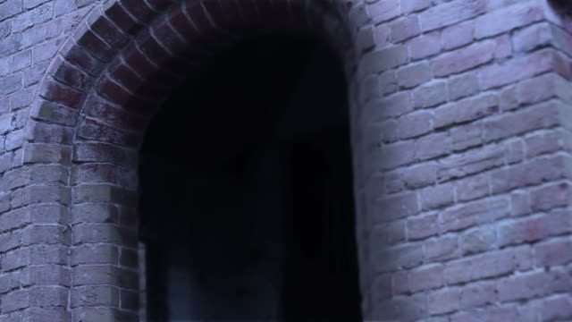 Dark spooky doorway tracking shot video