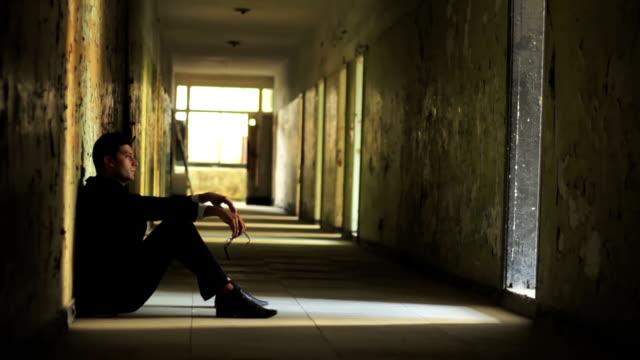 Dark Tunnel Depression Man Thinking Failure Concept HD video