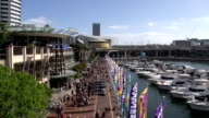 Darling harbour boulevard with people and boats video