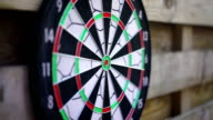 Dart arrow fails to hit the board, unsuccessful attempt. Person losing, failing video