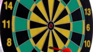 darts in red and green color. video