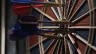 Darts striking a dartboard video