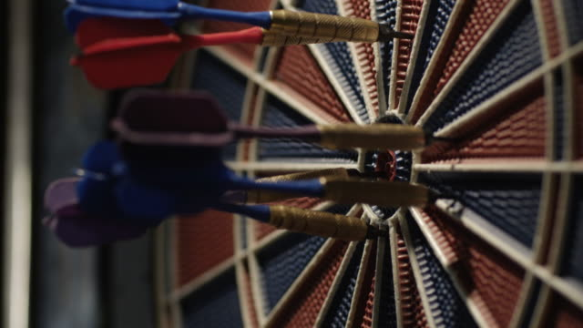 Darts striking a dartboard video