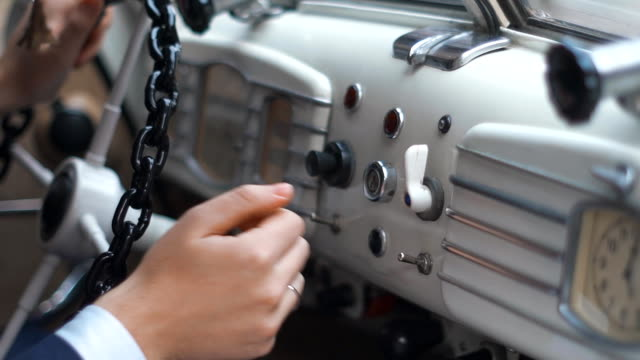Dashboard panel of retro car video