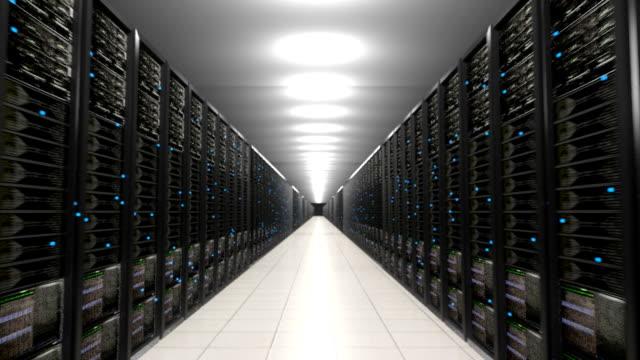 Data center servers endless corridor loop centre video