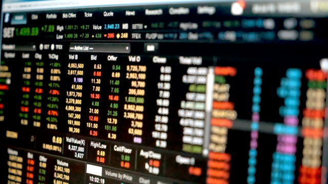 Data graph of stock market financial chart Stock market data on LED display video