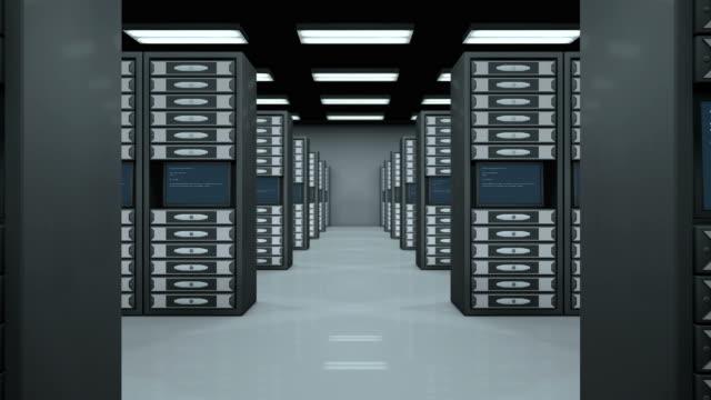 Data room full of servers video