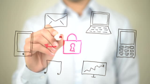 Data Security, Concept Illustration, Man writing on transparent screen video