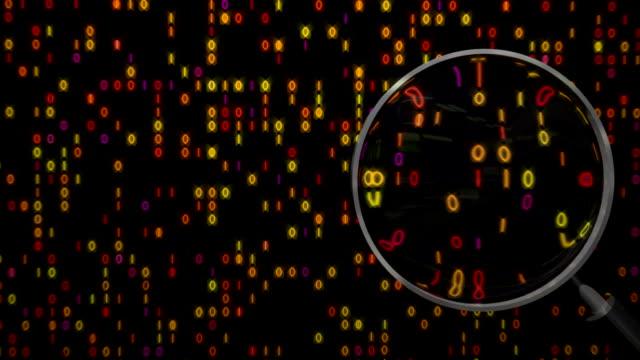 Data under magnifying glass binary spying spyglass video