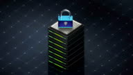 Database symbol and Security. Database server web hosting icon 3D, video