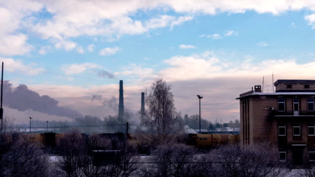 Daugavpils train station in winter - DSLR time lapse video