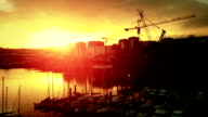 Dawn on the Vigo Harbor, Spain video