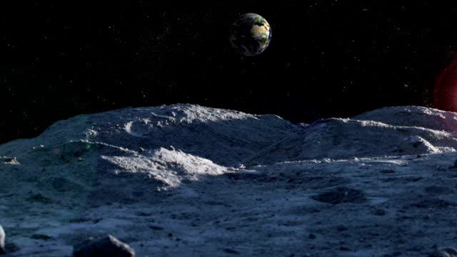 Dawn timelapse on the moon with lensflare video