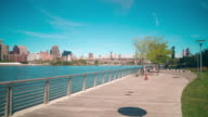 day gantry plaza state park bay 4k time lapse from new york video