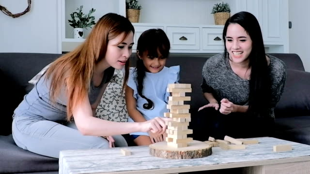 Day in the Life of a Family : Cute asian Children playing with blocks.HD format. video