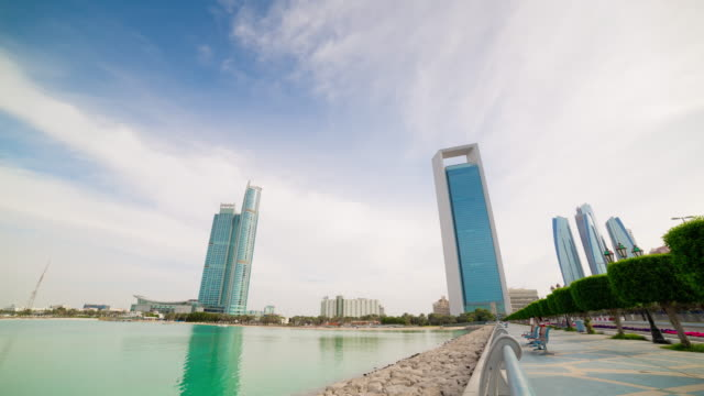 day light abu dhabi walking bay cityscape panorama 4k time lapse uae video
