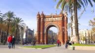 day light arc de triomf tourist walking road 4k spain barcelona video