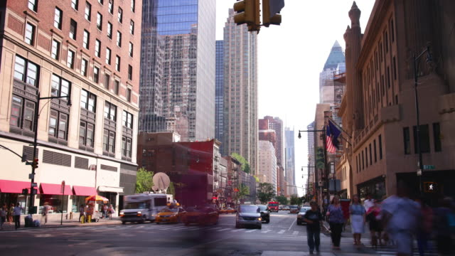 day light manhattan crossroad 4k time lapse from new york video
