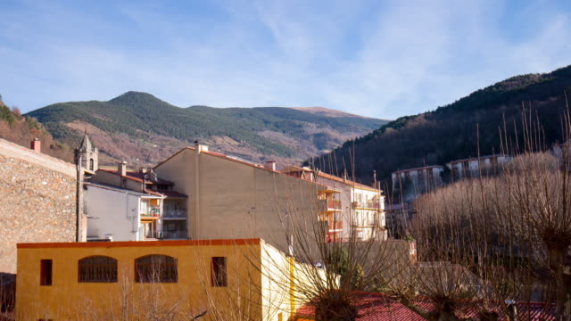 day light ribes de freser roofs mountain 4k time lapse spain video