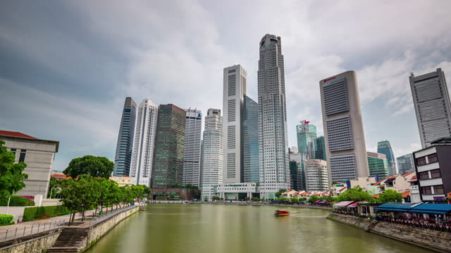 day light singapore downtown gulf 4k time lapse video