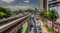 day light traffic road with beautiful sky 4k time lapse from kuala lumpur video