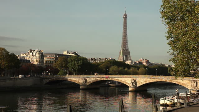 Day shot of the river Seine and Eiffel tower video