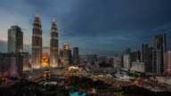 day till night light famous buildings 4k time lapse from kuala lumpur video