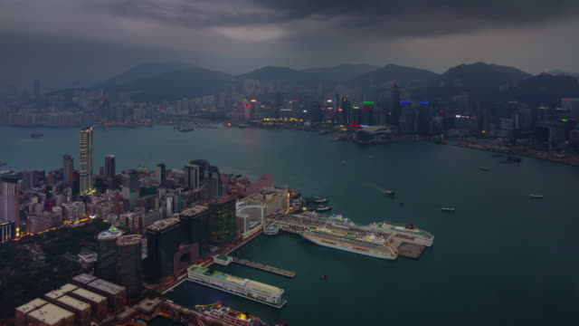 day till night port panorama 4k time lapse from hong kong roof top video