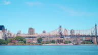 day time queensboro bridge traffic 4k time lapse from new york video