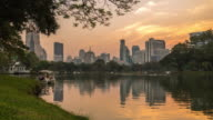 day to night City at night view of Bangkok from Lumpini Park, Thailand. video