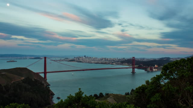 Day To Night Golden Gate Bridge And San Francisco Timelapse video