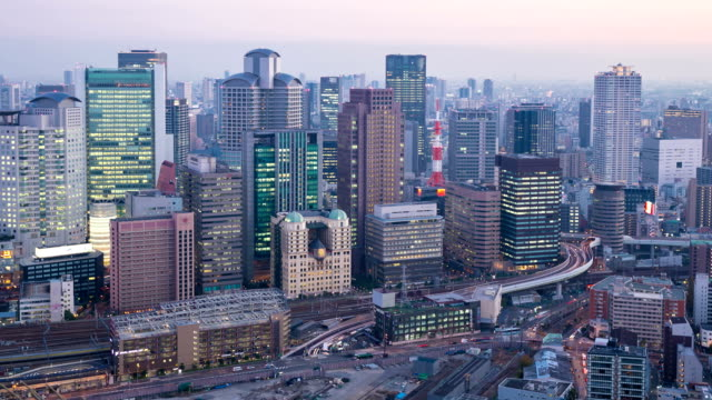 Day to Night HD Time-lapse: Osaka Cityscape in action video