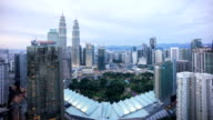day to night sunset scene at Kuala Lumpur skyline video