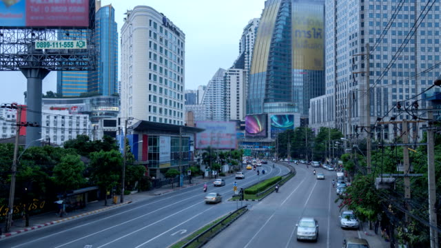 day to night time lapse Central Business District,bangkok thailand video