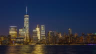 Day to night time lapse of downtown Manhattan in New York City video